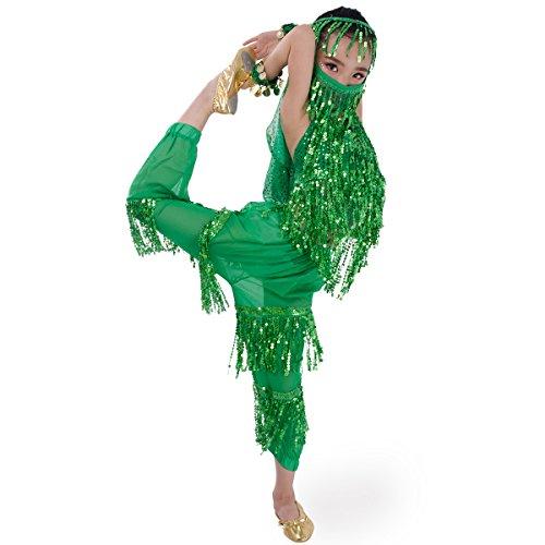 SymbolLife Mädchen Bauchtanz Kostuem kinder tanzkleid, Trägertop + Pluderhosen + Kopftuch+ Armbänder+ Handtuch S - Indian Belly Dancer Kostüm