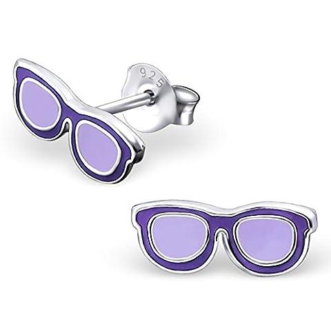 JAYARE Kinder-Ohrringe Sonnenbrillen 4 x 10 mm Emaille 925 Sterling Silber lila violett im Etui Mädchen-Ohrstecker