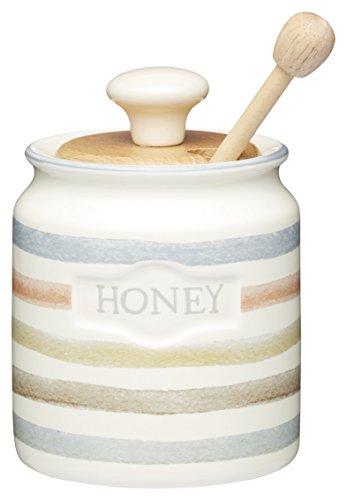 Kitchen Craft Classic Collection Striped vaso di miele in ceramica con mestolo di legno, 450ml (16FL oz)–Crema
