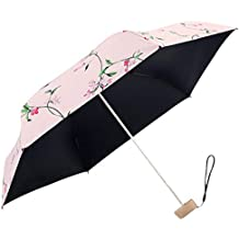DORRISO Plegable Paraguas Mini Mujer Multiuso y Resistente al Viento Impermeable Anti-UV Mango Antideslizante