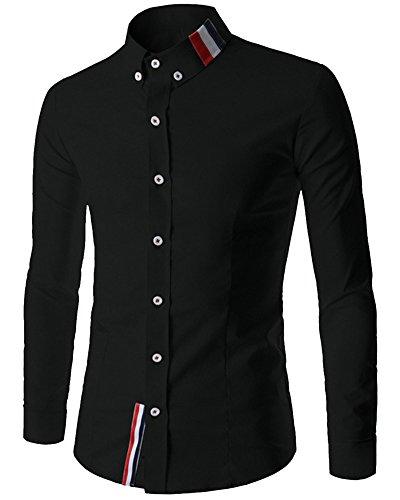 Chemise Manches Longues Homme Casual Slim Fit Shirt Tops 8749 Noir