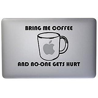 Vinyl 'Bring Me Kaffee' Laptop Aufkleber–Declare Ihr Koffein Addiction to The World.