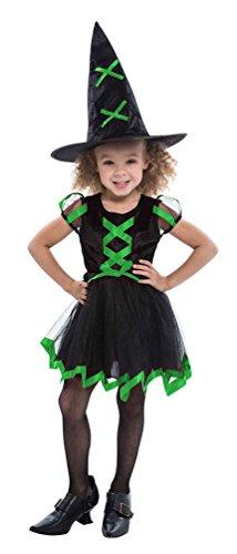 Karneval-Klamotten Hexen-kostüm Kinder Hexe für Mädchen Hexenkostüm schwarz grün Halloween Hexenkleid inkl. Hexenhut 104-116 (In Den Wald Hexe Kostüme)