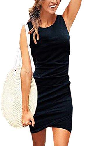 ECOWISH Damen Enges Kleid Sommerkleid Rundhals Kurzarm Kleid Bodycon Unregelmäßig Minikleid...