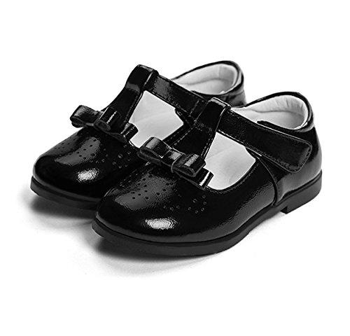 Chaussure en cuir soulier princesse avec nœud papillon ballerines belle mode classique courant Noir