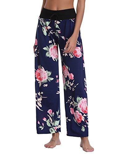 Abollria Damen Freizeithose Haremshose Lockere Hose mit Weitem Beinabschluss Blumen Print (Blumen-print-hose)