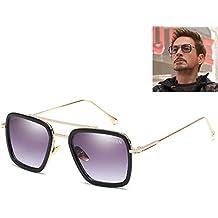 SHEEN KELLY Retro Gafas de sol Marco de metal para hombres mujeres Gafas de sol aviador