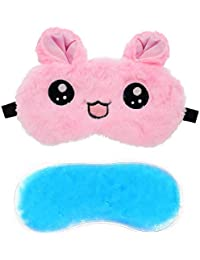 Jenna™ Cute Gel Fur Sleeping Eye Shade Mask Cover for Insomnia, Meditation, Puffy Eyes and Dark Circles Kitty Pink