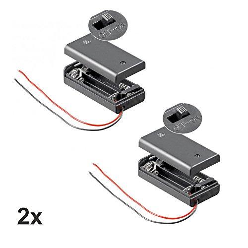 2X Batteriehalter | 2X AA Mignon | mit EIN Aus Schalter | lose Kabelenden | geschlossenes Gehäuse | wasserabweisend | schaltbar | Batteriefach Akkuhalter Aufbewahrungsbox | 2 Stück -