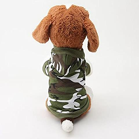 Dimart Camouflage Hooded Hat Pet Puppy Clothes Costume for Little Dog in Cold Weather-Army Green, S (Costume World)