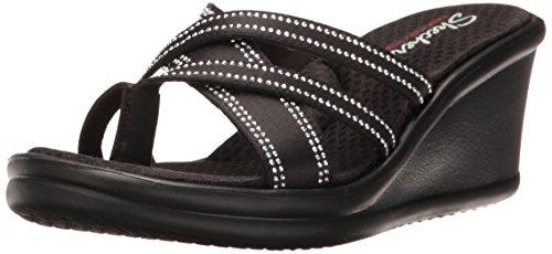 Skechers 38465, Damen Plateau, Schwarz - schwarz (Black Gem) - Größe: 41 EU - Gem Thong Sandal