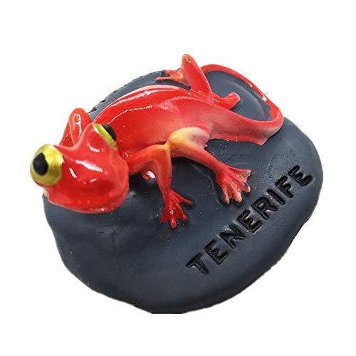 MUYU Magnet Chameleon of Tenerife - Imán para Nevera en 3D, colección de Regalo de Recuerdo, decoración para el hogar y la Cocina, Adhesivo magnético, imán para Nevera Tenerife España (Rojo)