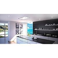 Luxus Deckenhaube 120cm/ Weißglas Design/Inklusive Saugstarken Motor 925m³/h/Dunstabzugshaube/Fernbedienung/4x2W Power LED Beleuchtung//Nachlaufautomatik/Deckenlüfter /Europäische Premiumklasse