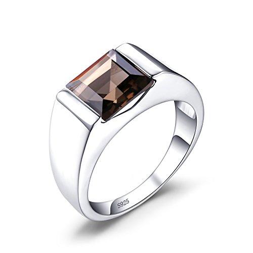 Jewelrypalaces 3.4ct Luxus Gentleman Natürliche Braun Rauchquarz Man Herren Ringe Silberring Massivem 925 Sterlingsilber