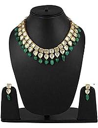 Shining Diva Fashion Green Kundan Traditional Necklace Jewellery Set for Women (9788s)