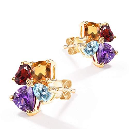 14 Karat 585 Gold Ohrstecker Ohrringe mit Citrin Topas Amethyst Granat für Damen Mädchen - Größe: 12 * 10 mm