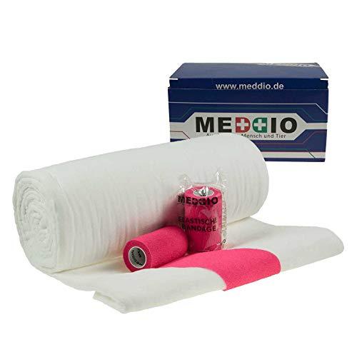 Mullwatterolle 40x500cm + 12 Haftbandagen 10cm pink selbsthaftende Bandage Watte -