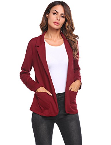 Damen Blazer Cardigan Kurzjacke Lange Arm tailliert mit Taschen Gr.S-XXXL (Damen Lange Blazer)