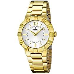 University Sports Press F16732/1 - Reloj de cuarzo para mujer, con correa de acero inoxidable chapado, color dorado