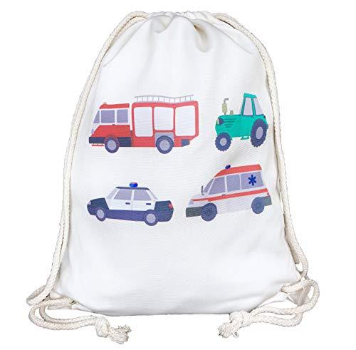 HECKBO® Kinder Turnbeutel - beidseitig Bedruckt mit 4 Feuerwehr, Traktor, Krankenwagen & Polizei - Gymsack, Rucksack, Spieltasche, Sportbeutel, Schuhbeutel, Tasche für Jungen Jungs