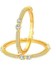 Sukkhi Glimmery Gold Plated American Diamond Bangle For Women