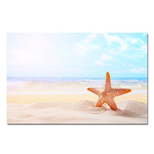 Design Poster Druck auf echtem Fotopapier - Sommer / Sonnenuntergang / Muschel / Strand / Palmen / Wasser, Design:Design 5, Format & Größe:50 x 40 cm | Rahmenformat