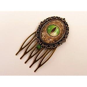Kleiner Haarkamm in grün bronze mit Drachenauge