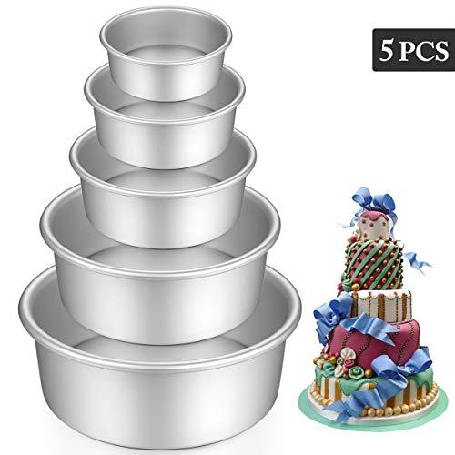 Teglia Professionale Tonda in Alluminio Anodizzato, 5-Tier antiaderente torta rotonda latta Set con fondo amovibile per...
