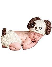 Happy Elements fotografía Prop niño Appena Nato sveglio del disfraz de Navidad del sombrero hecho a tejer crochet ropa juego
