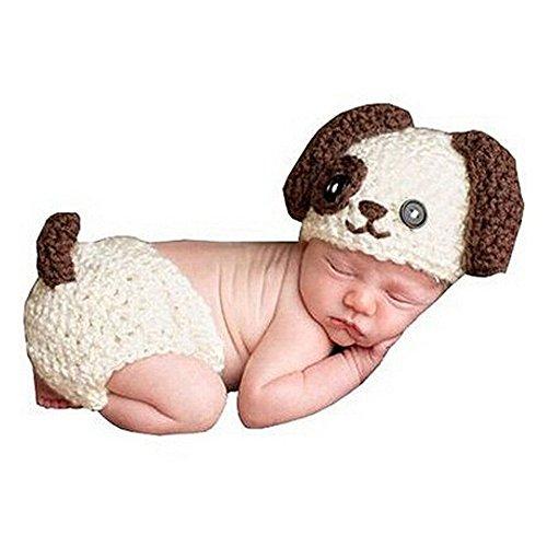 HAPPY ELEMENTS Baby Säuglings gestrickter Welpen Hundekostüm Satz Neugeborenes Foto Stützen Häkelarbeit Hut und Windel Abdeckungs Ausstattung