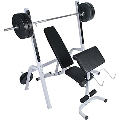 Weight Bench with Separate 5-position Adjustable Barbell Rack for Gym Fitness Training from Physionics