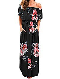 7877692c6c1741 Kidsform Maxi Kleid Damen Großen Größen Sommerkleider Elegant Strandkleider  Kurzarm V-Ausschnitt Split Lang Kleid