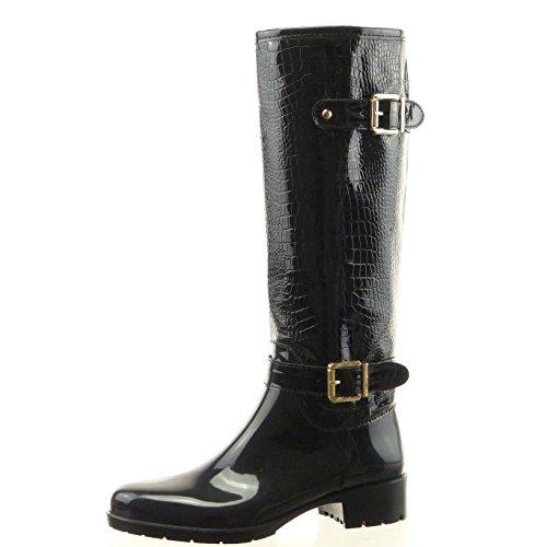 Sopily - Scarpe da Moda Stivali - Scarponi stivali pioggia donna pelle di serpente fibbia Tacco a blocco 3.5 CM - soletta sintetico - foderato di pelliccia - Nero CAT-5-LL651 T 38