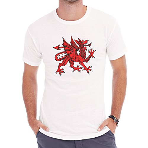 Dragon Welsh Red Tongue Spikes Teeth Herren T-Shirt Weiß