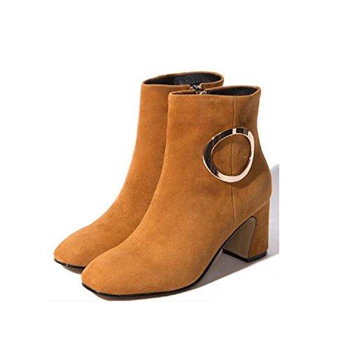 YYH Damen Stiefel Nubukleder Schnalle Casual Leder schlank nackt im Bootie warme Schuhe , brown , 36 (Plattform Beine Schwarze Stiefel Schnalle)