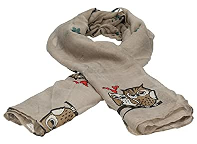 Owls in Love Scarf in Light Brown