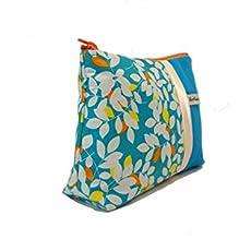 pochette bleu turquoise motifs feuilles, fourre tout femme en toile et  tissu. 41d3a760f74