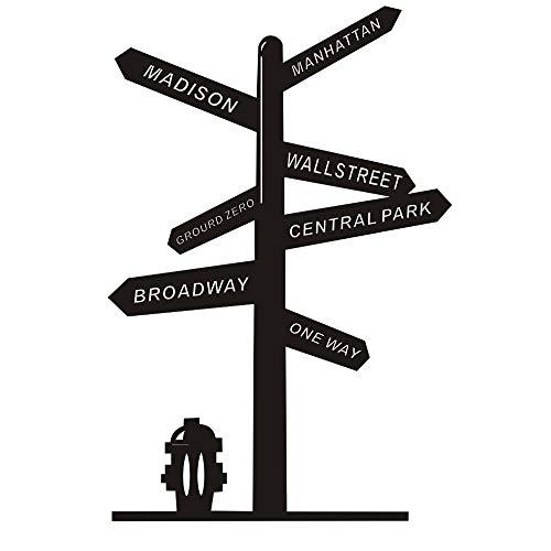 Ajcwhml Wandtattoo Vinyl Aufkleber Wegweiser Us York Broadway Wall Street Central Park Abnehmbare Haus Wohnzimmer Dekor 42X63 Cm