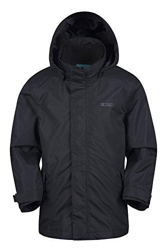 Mountain Warehouse Fell Wasserdichte 3-in-1-Kinderjacke mantel + Fleece Regenschutz Funktionsjacke Doppeljacke Winterjacke Schwarz 128 (7-8 Jahre)