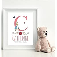 Peter Rabbit Baby Personalised New Baby Boy or Girl Print Christening Gift - Unframed A4