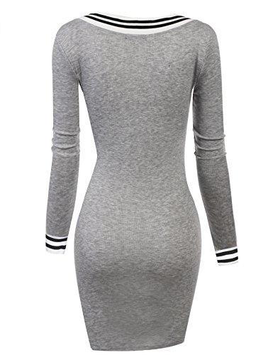 ZEARO Femmes Nouvelle Sexy Manches Longues Pull Chandail Moulante Tricoter Mini Robe Tunique Asymetrique S-XXL Gris