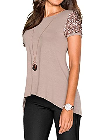 Nlife Women Khaki Asymmetric Hem Short Sleeve with Sequin Inserts Shirt Top