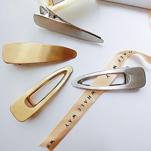 4 Stück Modische einfache Metall-Haarspangen für Frauen Elegant Retro Entenschnabel Haarspangen Haarklammern Stirnbandklipp Haarschmuck (Sliber und Gold)