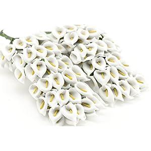 FiveSeasonStuff® 144 piezas Miniatura Lirios Cala de Papel Flores Artificiales, Perfecto para Novia Decoración, Boda…