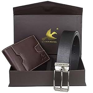 Hornbull Men's Brown Wallet and Black Belt Combo BW93109
