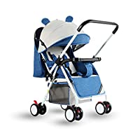 Lightweight Baby Stroller, Foldable Baby Pushchair, Buggy with Reversible & Adjustable Push Handle, Peek-a-Boo Window and Detachable Food Tray