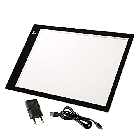 Tracffy A4 Size Tracing Light Box, Artcraft LED Light Table Light Pad Dimmable Brightness Tatoo Pad Aniamtion, Sketching, Designing, Stencilling with USB Cable (36 x 24 x 0.6cm)