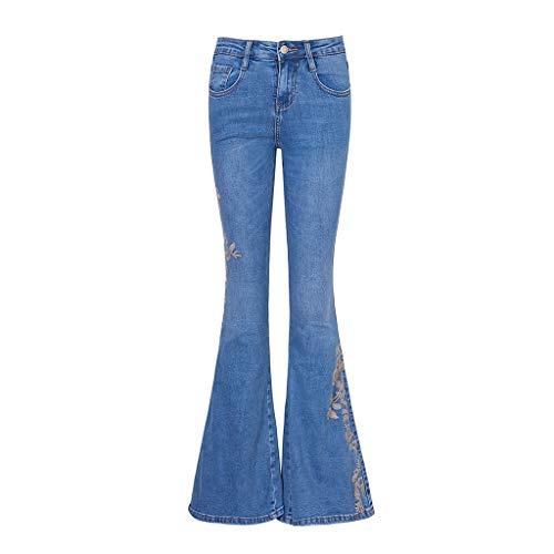 Bekleidung Sommerjeans Gestickte Flare-Jeans Stretch-Hosen Mit Hoher Taille Freizeithosen Gerade Hosen Hochwertige Baumwolle Atmungsaktiv Damen (Color : Blue, Size : 30) -