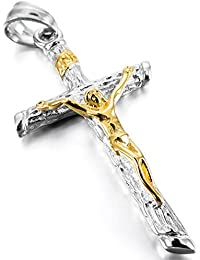 MunkiMix Acero Inoxidable Colgante Collar Jesús Cristo Crucifijo Cruzar Cruz Hombre ,Cadena 58cm