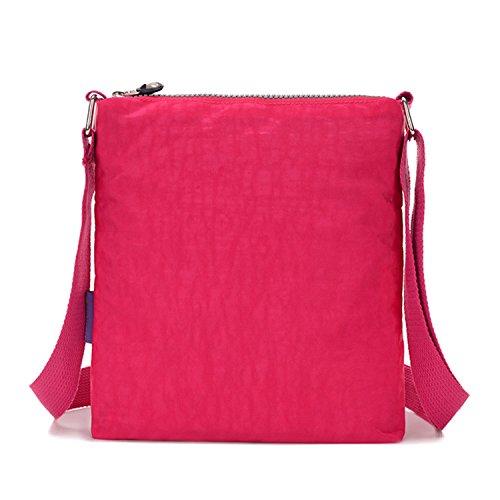Tiny Chou MULTILAYER Reißverschluss Taschen wasserabweisend Nylon Stoff Umhängetasche Schultertasche für Mädchen Ocean Blue